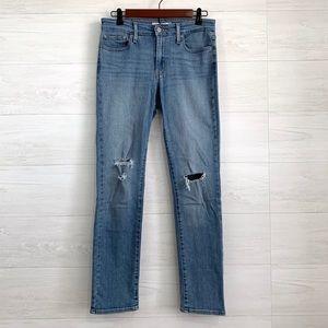 Levis 712 Slim Skinny Leg Distressed Knee Jeans